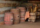 barrels and flag